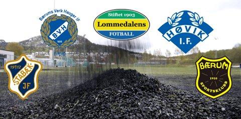 VIL UTSETTE: Stabæk, Bærums Verk Hauger IF,  Lommedalens IL, Høvik IF og Bærum SK ber om tid til å utrede alternativer til gummigranulat.