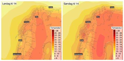 VARMERE: Slik ser temperaturprognosene ut for Nord-Norge lørdag og søndag. Varmen er på vei! Foto: (Meteorologisk institutt/Yr)