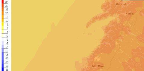 Kartet til Storm Weather Center viser at det blir varmt søndag klokken 14.00.