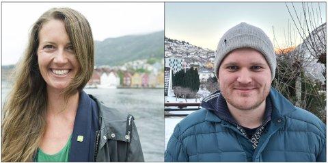 I fylket skal de være venner, men ikke nasjonalt. Natalia Golis (MDG) og Alexander Øren Heen (Sp).
