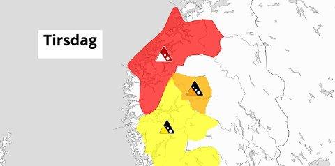 EKSTREM: Snøskredfaren i Indre Fjordane er sett til ekstrem stor det neste døgnet.