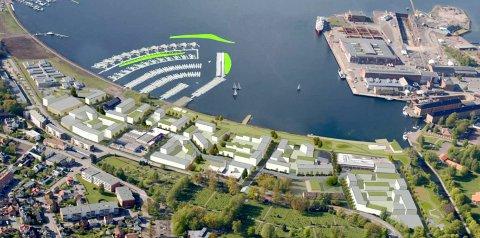 IDEER: Denne skissen med boliger på Bromsjordet viser området,  med flytende boliger i Indre havneby.