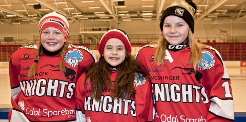 TØFFINGER: Alma Risberg (11), Thilde Lillenes Taftø (9) og Pernille Sørli Løvlie (11) elsker å spille ishockey for Knights. De ber alle tøffe jenter, som kunne tenke seg et lynkjapt samarbeid, om å melde seg til tjeneste for klubben.