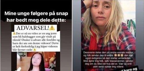 ADVARER: Tale Maria Krohn Engvik, også kjent som Helsesista, advarer nå barn og unge mot en video som går viralt på TikTok.