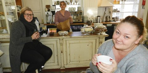 OPTIMISTER: Fra venstre ser vi frisør Katrine Gulbransen i Vakker stil, innehaver Hanne Gran i Pollys Tearoom og leder Gry Jonassen i Handel i Halden. Gulbrandsen og Gran ser på det å drive egen virksomhet som en livsstil. Det koster. Og det er krevende.