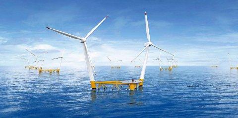 NYE MØLLER: Disse vindmøllene kan komme opp utenfor Karmøy. Bildet viser teknologien til det svenske selskapet Hexicon.