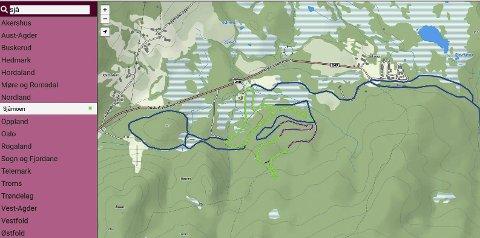OPPDATERT: Dette kartet viser hvordan og når det kjøres opp løyper på Sjåmoen. Det er forskjellig farge etter hvor lenge det er siden løypa er preparert. Foto: Skjermdump fra loyper.net