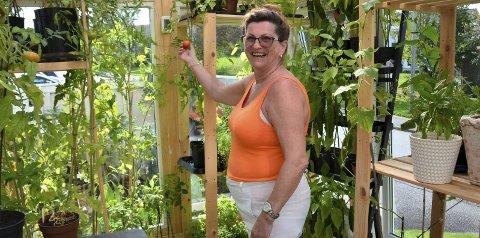 I GRØNT: Liv Hansen synest at fleire kan begynna å dyrka eigen mat. Sjølv stortrivst ho med det og det nye drivhuset.