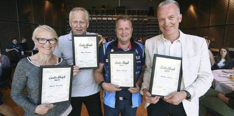 FIRE ILDSJELER: Fra venstre: Grete Solberg, Magne Gaarder, Roger Rustand og Morten Karlsen ble tildelt Lps ildsjelpriser.