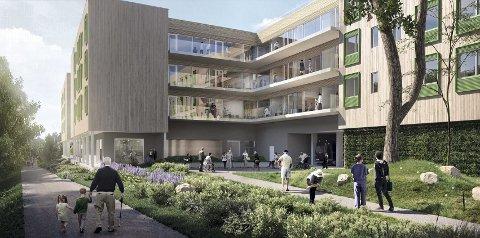 ETTER: Nye Ryen Helsehus skal være ferdig til våren 2020. Her sett fra sør. SKISSE: Omsorgsbygg