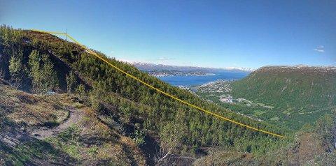 TO STASJONER: Planen er å sette opp èn stasjon ved Lilleaksa, 230 meter nord for Fjellheisen. Den andre stasjonen settes nede i Tromsdalen og kabelen skal krysse lys- og turløypene på begge sider av Tromsdalselven. Nå er prosjektet ett skritt nærmere realisering.