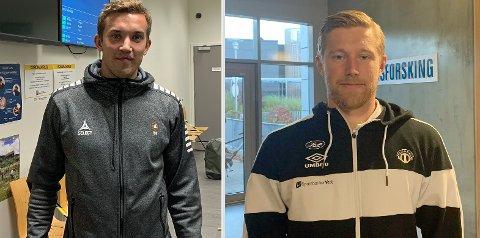 GAMLE KLASSEKAMERATER: Steffen Skogvang Pedersen (t.v.) og Tomas Kristoffersen gikk i samme klasse på Tromsdalen videregående skole. Åtte år senere møttes de til toppkamp i 1. divisjon.