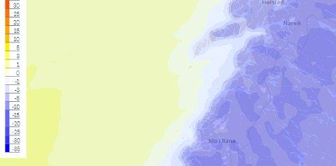 I starten av neste uke vil temperaturene krype ned mot tosifret i store deler av Salten, ifølge meteorolog Isak Slettebø hos Storm.