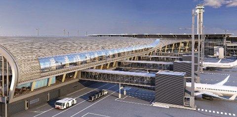 Slik blir den nye piren på Oslo Lufthavn seende ut.