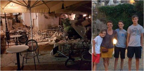 STORE ØDELEGGELSER: Vetle Jørgensen Evjen (9), Anne Liv Jørgensen, Sondre Jørgensen Evjen (13) og Eskil Evjen (15) måtte evakuere under jordskjelvet. – Vi hørte at ting knuste rundt oss, sier Eskil Evjen.