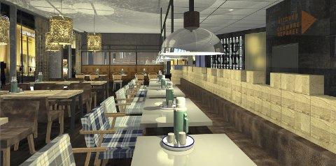 Tømrerstil: Restauranten har en røff stil med elementer hentet fra byens historie. Foto: Riss interiørarkitekter
