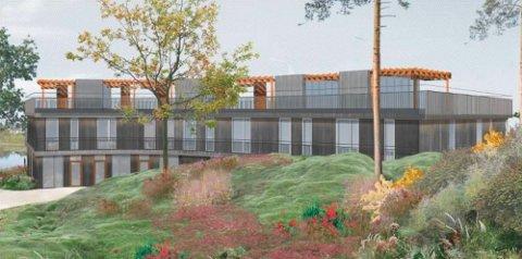 I TRE: Kledningen av leilighetsbygget bak Heggedal kirke skal etter planen være i tre.