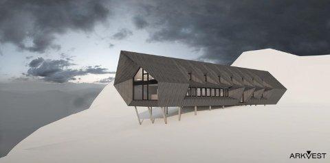 SKANSEN: Illustrasjonsskisse for Skansen turisthytte, som var tenkt plassert på høgheia over Lysefjorden, mellom Flørli og Øygardstølen. Foto: ArkVest