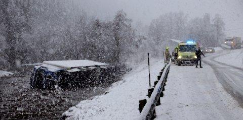 Vogntoget havnet i Tiåa. Foto: John Storholt