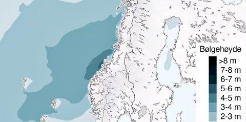 Lørdag er det ventet høye bølger på kysten utenfor Nordmøre.