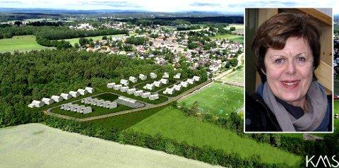 ENIGE: Grunneier Torill Bakke Andersen kan ikke se noen grunn til at det ikke skal bygges boliger i skogen ved idrettsanlegget nå, all den tid de har kommet til enighet med idrettsforeningen.