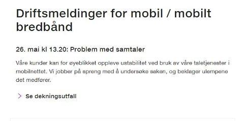 PROBLEMER: Telia melder om problemer med mobiltelefoni, men uten å si noe om når feilen anslås å være fikset.