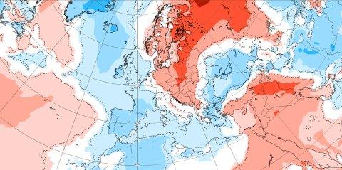 Slik ser temperaturene ut for neste uke. Rød farge indikerer at det blir varmere enn normalt, mens blå viser det motsatte. Hvit farge tyder på at temperaturene ligger på normalen.