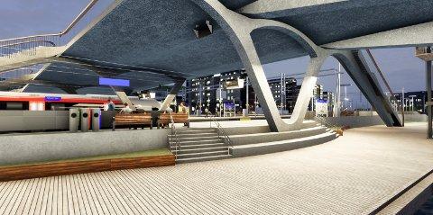 Under den nye brua: Slik vil plattformene bli seende ut under den nye bybrua.