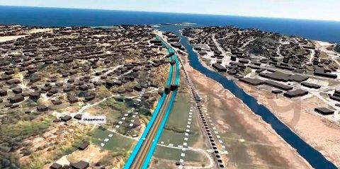 Øst for Seutelva: Den foreslåtte korridoren ligger nær boligområder ved Ambjørnrød og Gluppe. (Illustrasjon fra Bane NORs video.)