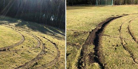 Knut Erik Berg synes det er trist at noen har kjørt i stykker den ene gressbanen ved BMX-banen i Råde. – Vi har andre ting å bekymre oss for enn dette nå om dagen, sier han.