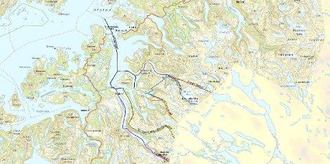 Grense: Det var lansert flere ulike alternativer for deling av Tysfjord. Fylkesmannen anbefalte det som på illustrasjonen vises som en grønn strek, mens departementet landet på det alternativet som Sametinget ønsket, og som her er tegnet med blå strek.