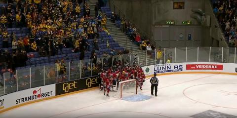 Rett etter kampslutt ble enkelte i Storhamar-svingen mektig provoserte over at Lillehammer feiret akkurat der.