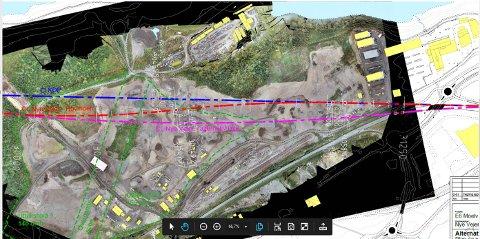 Til høyre i illustrasjonen ligger lagerplassen til Gausdal Landhandleri, den vil ikke rammes dersom den rosa strekningen velges som fremtidig E6 trasé gjennom Hovemoen.