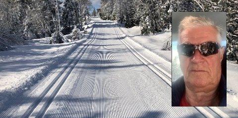 KJØRER LØYPER: Løypebas Arild Bernstrøm beretter om flotte skiforhold på Bislingen.