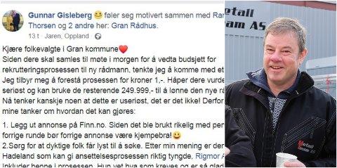 FORSLAG: Gunnar Gisleberg la ut et forslag på facebook, til hvordan man skal ansette ny rådmann i Gran.