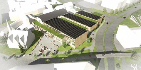 SKISSE: Slik ser SG Arkitekter for seg hvordan den nye svømmehallen kan bli. Den katolske kirke har ingen innvendinger mot å bli nærmeste nabo. Tegning: SG Arkitekter