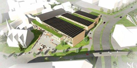 Slik ser SG Arkitekter for seg hvordan den nye svømmehallen kan bli ved St. Joseph i Halden sentrum.