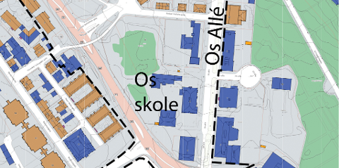 BLIR STORE ENDRINGER: Tre av de fire blå bygninene på området til Os skole er planlagt revet. SFO-bygningen, gymsalen og Halden bad må mest sannsynlig vike for idrettshall og utvidelse og nybygg i tilknytning til dagens Os skole.