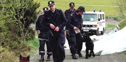 OM ET DRAP:  Politiet i området hvor Birgitte Tengs ble funnet etter udåden 6. mai 1995.