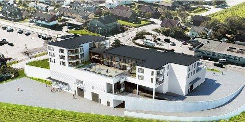 NYE COOP: Landbruksavdeling, daglegvarebutikk og leilegheiter for 80 millionar på Pollestad. Her er bygget sett frå nord.