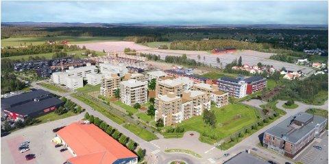 STORT PROSJEKT: I løpet av første halvår vil 40-45 boliger på Gystadmyra på Jessheim bli lagt ut for salg. Dette er en tidlig skisse av hvordan prosjektet kan bli seende ut. Mye av utformingen gjenstår fortsatt. Skisse: Obos