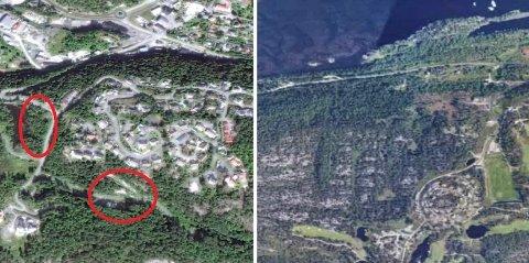 KRONESALG: Boligtomtene ligger på Lindvikskollen (t.v.) og Stabbestad.