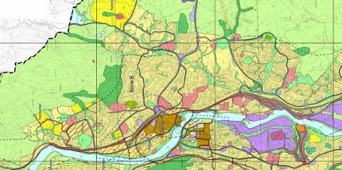 Utsnitt fra gjeldende arealplanen i Kongsberg