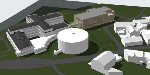 NYE SKISSER: Flåtaløkka-bygget er nedskalert og tilpasset budsjettet. Slik ser arkitektene for seg nybygget (gult) sett i forhold til kinobygget (det runde) og Tinius-bygget (til venstre).