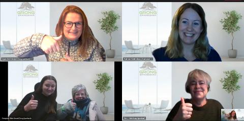 GLADE VINNERE: Her ser vi et knippe av kundesenterets trofaste medarbeidere. Øverst fra venstre: Bodil S. Engum og June Marlen Mork. Nederst fra venstre: Rikke U. Grongstad, Ingeborg Heia, Hilde Olsen og kundeservice-leder Ann Jeanett Klinkenberg.