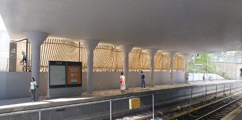 SLIK SKAL DET BLI: Det nye sykkelhotellet skal bygges under broen som går over Ryen T-banestasjon, bak holdeplassen i retning sentrum. Skisse: R+F+S Arkitekter