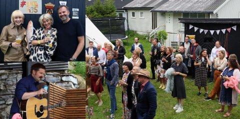 MINIFESTIVAL: Anita Rydningen (i midten i bildet oppe t.v) bestemte seg for å arrangere egen Bukta-festival i egen hage da den opprinnelige Bukta-festivalen ble avlyst på grunn av korona-tiltakene. Samboer Harald Solvang (t.h bildet oppe t.v) ble med på planen etter litt betenkningstid, og til stor glede for Anitas datter Amanda Rydningen Engeseth (t.v oppe) og alle festivaldeltakerne.  The Late Great-vokalist Tor Thomassen holdt solokonsert i hagen.
