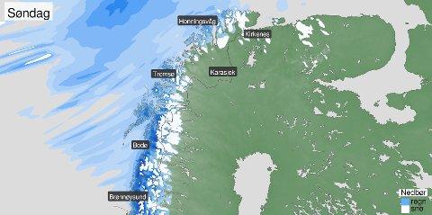 MILDT OG VÅTT: Søndag og mandag blir det vått, mildt og vindfullt i Nord-Norge. Men utover uken kan det se ut som temperaturen synker og vinden roer seg. Foto: Meteorologisk institutt