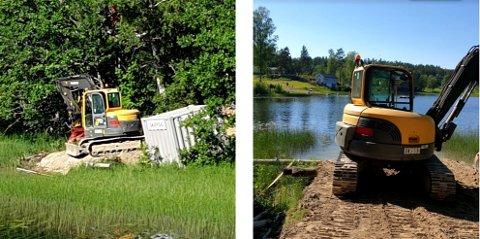Enebakk kommune har oppdaget at det er fylt masser i Lyseren uten tillatelse. Nå kreves massene fjernet.