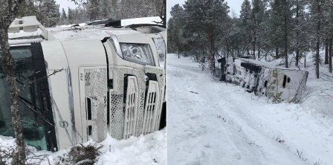 UTE I GRØFTA: Vogntoget ble liggende godt ute i grøfta. Foto: Østlendingen-tipser